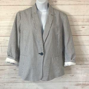 British Khaki Seersucker 3/4 Sleeve blazer, sz XL